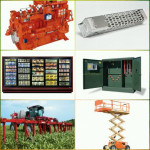 Photo collage of large machinery and equipment